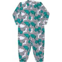 Macacão Infantil Dedeka Soft Dragões Masculino - Masculino-Cinza+Verde