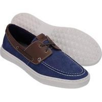 Sapato Mocassim Casual Slip On Khaata Masculino - Masculino-Azul