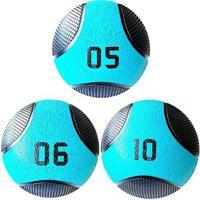 Kit 3 Medicine Ball Liveup Pro 5 6 E 10 Kg Bola De Peso Treino Funcional - Unissex