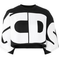 Gcds Blusa Oversized Cropped Com Logo - Preto