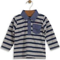 Camisa Polo Infantil Listrada Azul