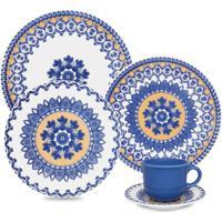 Aparelho Jantar/Chá Oxford 30Pcs Mail Order Floreal La Carreta Branco/Azul