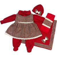 Kit Saída Maternidade Inverno I9 Baby 6 Peças Onça Vermelha