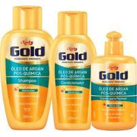 Kit Shampoo + Condicionador + Creme De Pentear Óleo De Argan Pós Química Niely Gold - Unissex-Incolor