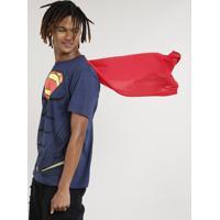 Camiseta Masculina Carnaval Super Homem Com Capa Manga Curta Gola Careca Azul Marinho