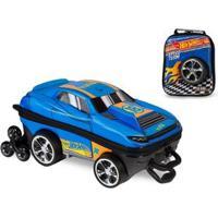 Kit Mochila Hot Wheels D Muscle 3D Com Rodinhas+ Lancheira Maxtoy - Masculino-Azul