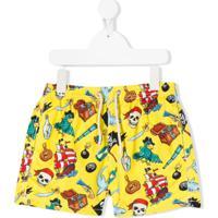 Mc2 Saint Barth Kids Short De Natação Pirate Smile - Amarelo