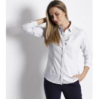 Camisa Geométrica Com Bordado Frontal - Branca & Preta