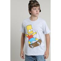 Camiseta Juvenil Bart Simpson Manga Curta Gola Careca Cinza Mescla Claro