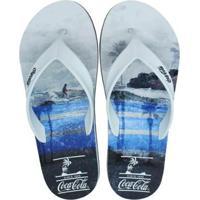 Chinelo Coca Cola Deck Fit Surf Board Masculino - Masculino-Branco+Preto