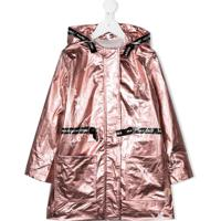 Little Marc Jacobs Laminated Hooded Parka Coat - Rosa