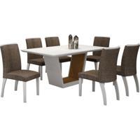 Conjunto De Mesa 1.80M Tampo Branco Com 6 Cadeiras Alemanha 100% Mdf Branco/Imbuia Mel/Branco Tecido Linho Marrom