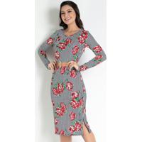 Vestido Com Fendas Listras Preta Moda Evangélica