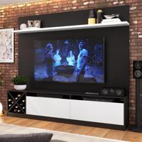 Rack Com Painel Para Tv Até 65 Polegadas 2 Portas Preto/Branco 2022 - Quiditá Móveis