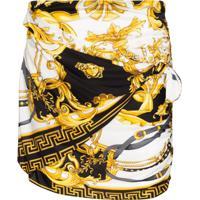 Versace Baroque Print Gathered Mini Skirt - Preto