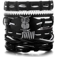 Bracelete Artestore 5 Em 1 Pulseira Em Couro Com Coruja Em Metal - Unissex