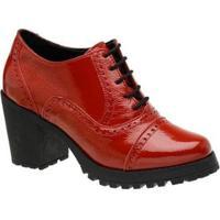 Sapato Feminino Oxford Vermelho Em Couro Salto Tratorado 19000 - Feminino