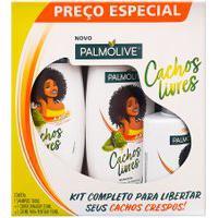 Shampoo + Condicionador Palmolive Cachos Livres Extrato De Babosa 350Ml Cada + Creme De Pentear Palmolive Cachos Livres Extrato De Babosa 150Ml
