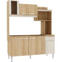 Cozinha Compacta Angel S/Tampo Carvalho/Blanche Fellicci Móveis Bege
