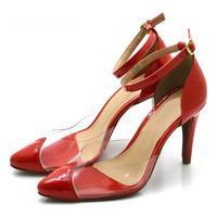 Sapato Feminino Scarpin Salto Alto Fino Em Napa Verniz Vermelha Com Transparência