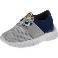 Tênis Jogging Joys Shoes Calce Fácil Enfeite Cinza/Azul