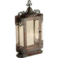 Lanterna Decorativa De Metal Envelhecido E Vidro Agadir Grande