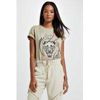 T-Shirt De Malha Com Silk Localizado Bege Victoria - P