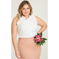 Camisa Sem Manga Plus Size Off White