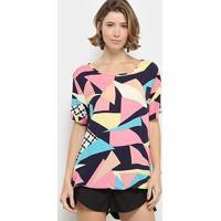 Blusa C & V Collection Estampa Geométrica Colorida Feminina - Feminino-Rosa
