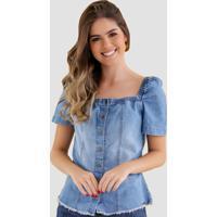 Blusa Jeans Zayon Decote Quadrado Azul - Azul - Feminino - Dafiti