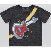Camiseta Infantil Guitarra Manga Curta Preta