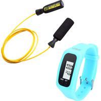 Kit Corda De Pular Em Aço Revestido Amarela Pretorian Relógio Pedômetro Azul Liveup Ls3348A