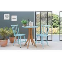 Mesa Redonda Com 2 Cadeiras Juliette - Jatobá E Azul Bebê