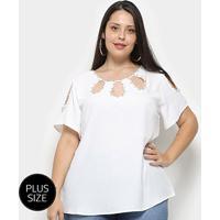 Blusa Heli Open Shoulder Apliques Plus Size Feminina - Feminino-Branco