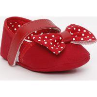 Sapato Boneca Com Laço & Poás - Vermelho & Branco - Tico Baby