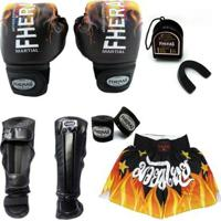 Kit Boxe Muay Thai Top - Luva Bandagem Bucal Caneleira Shorts 14 Oz - Unissex