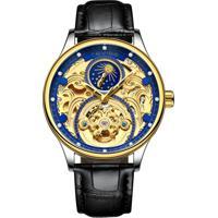 Relógio Tevise T820A Masculino Automático Pulseira De Couro Preto - Azul