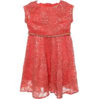 Vestido Tecido Paetes Bordadocoral - Feminino-Coral