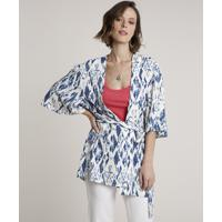 Kimono Feminino Estampado Com Faixa Para Amarrar Off White
