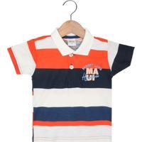 Camisa Polo Elian Menino Branco/Laranja