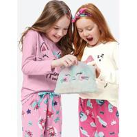 Pijama Rosa Infantil Com Necessaire