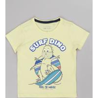 Camiseta Infantil Com Estampa Interativa De Dinossauro Manga Curta Amarelo Claro