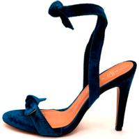 Sandália Amoha Salto Fino Veludo Azul