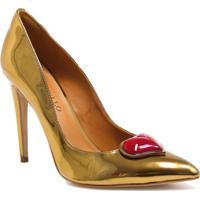 089ed3501 ... Sapato Cecconello Scarpin Coração - Feminino-Dourado