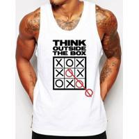 Camiseta Regata Criativa Urbana Frases Pense Fora Da Caixa - Masculino