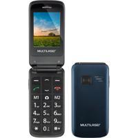 Telefone Celular Flip Vita P9020 Dual Chip 2.4' Mp3 Bluetooth Gps 32Mb Azul Multilaser