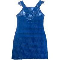 Vestido Tricoline Laise Azul Mini Us - Azul - 10 Azul
