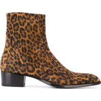 Saint Laurent Bota Wyatt Animal Print - Marrom
