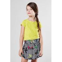 Blusa Infantil Flame Com Cadarco Reserva Mini Feminina - Feminino-Verde Limão