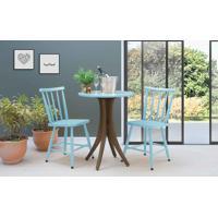 Mesa Bistrô Pequena 2 Cadeiras Redonda Juliette - Nogueira E Azul Bebê